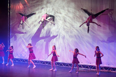 Dancing and aerial ballet on stage
